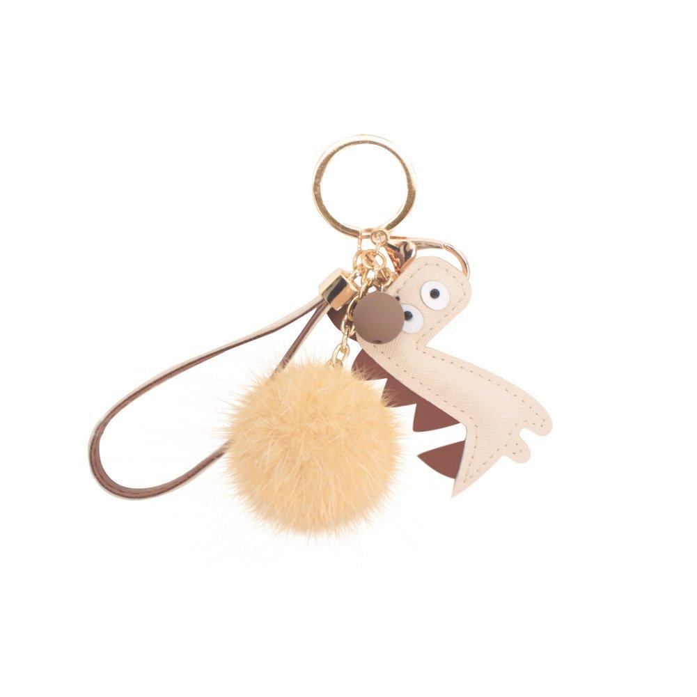 Cute Dinosaur Keyring Real Mink Fur Pompom Keychain Bag Charm for Women's Car Key Pendent Decoration