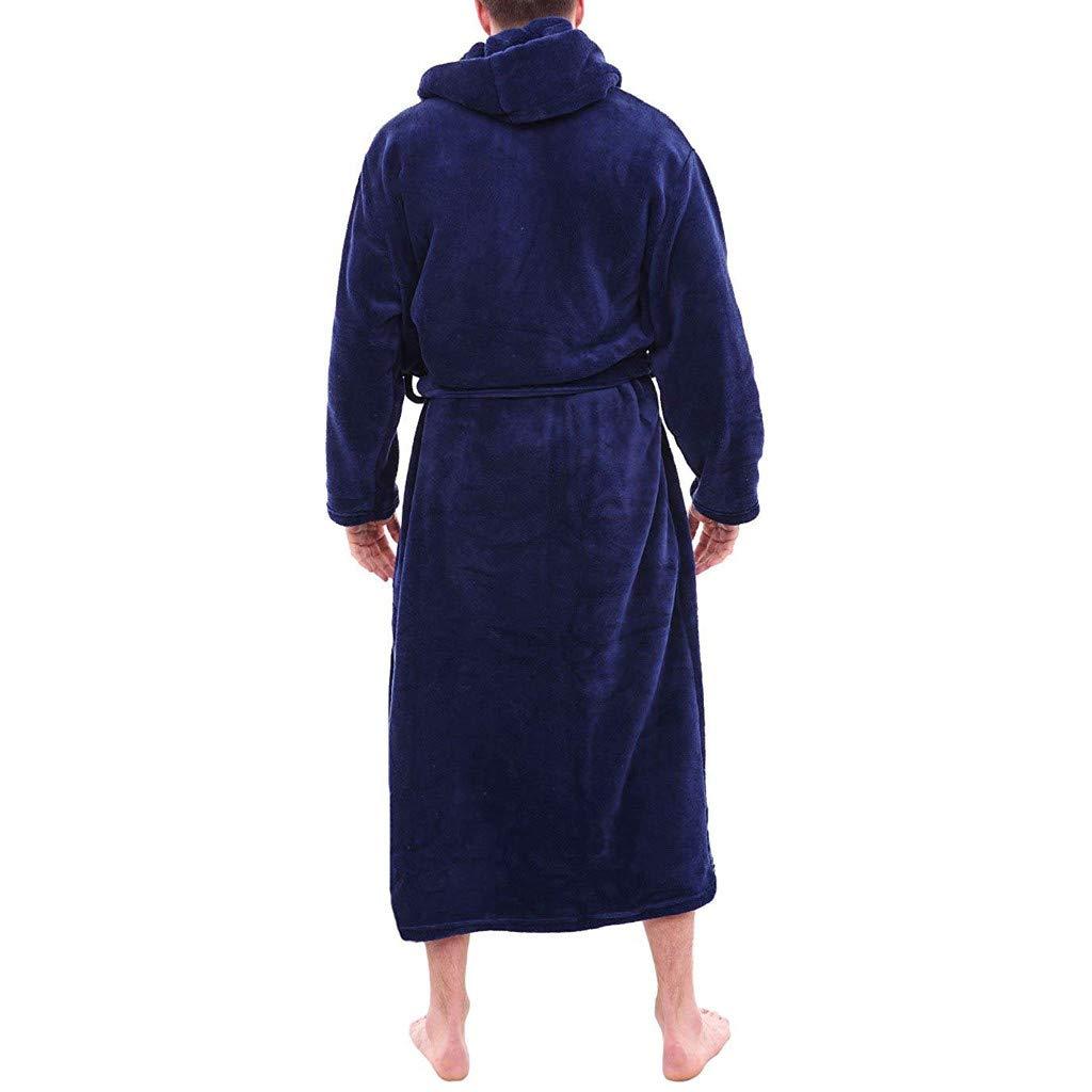 Dream/_Mimi Mens Winter Plush Long Hooded Shawl Bathrobe Home Service Long-Sleeved Robes Pajamas