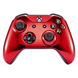 eXtremeRate Chrome Front Housing Shell Faceplate for Microsoft Xbox One S & Xbox One X Controller (Red)