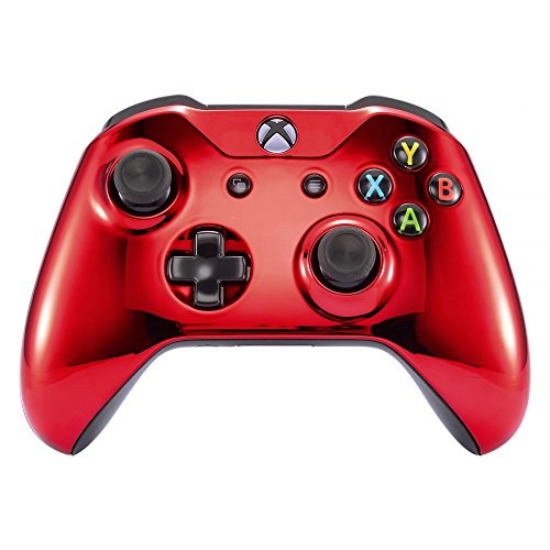 eXtremeRate Chrome Red Edition Front Housing Shell for Xbox One Wireless Controller Model 1708, Replacement Custom Faceplate Cover for Xbox One S & Xbox One X Controller - Controller NOT Included