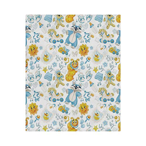 (C COABALLA Nursery Comfortable Duvet Cover,Its a Boy Image with Happy Sun Raccoon in Pyjamas Blue Hats and Pacifier Decorative for Home,86