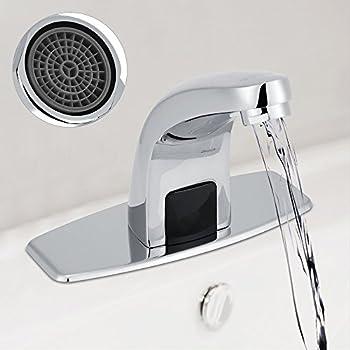 Pomu deck mount solid brass auto sensor bathroom sink faucet with automatic sensor chrome bath for Automatic bathroom sink faucets