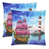 InterestPrint Custom 2 Pack Watercolor Sailing Ship Lighthouse Throw Pillow Case Covers 18x18 Twin Sides, Red Sail Blue Cotton Zippered Cushion Pillowcase Set Decorative