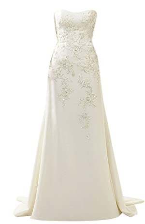 Rachel Weisz Women's Taffeta Strapless Mermaid Appliques Wedding Dresses Bride Evening Formal Ball Gown White US14