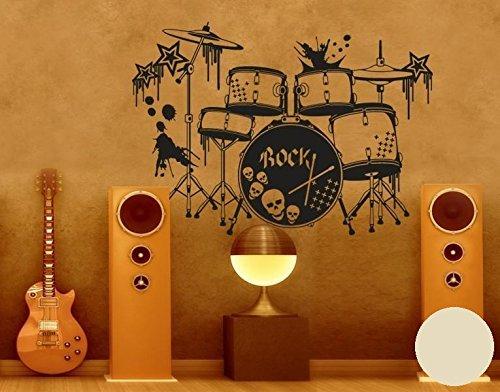 Klebefieber Wandtattoo Schlagzeug B x x x H  100cm x 71cm Farbe  Schwarz B071957Y8R Wandtattoos & Wandbilder 6552f6