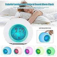 Dovlen Reloj Despertador Digital 7 Colores Cambio Luz