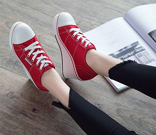 Compensé Chaussures Femme Rouge Taille 43 Sport Chaussure Mode 41 Shoes Basse Women 42 En Toile Baskets Sneakers 40 De fRqvw0T