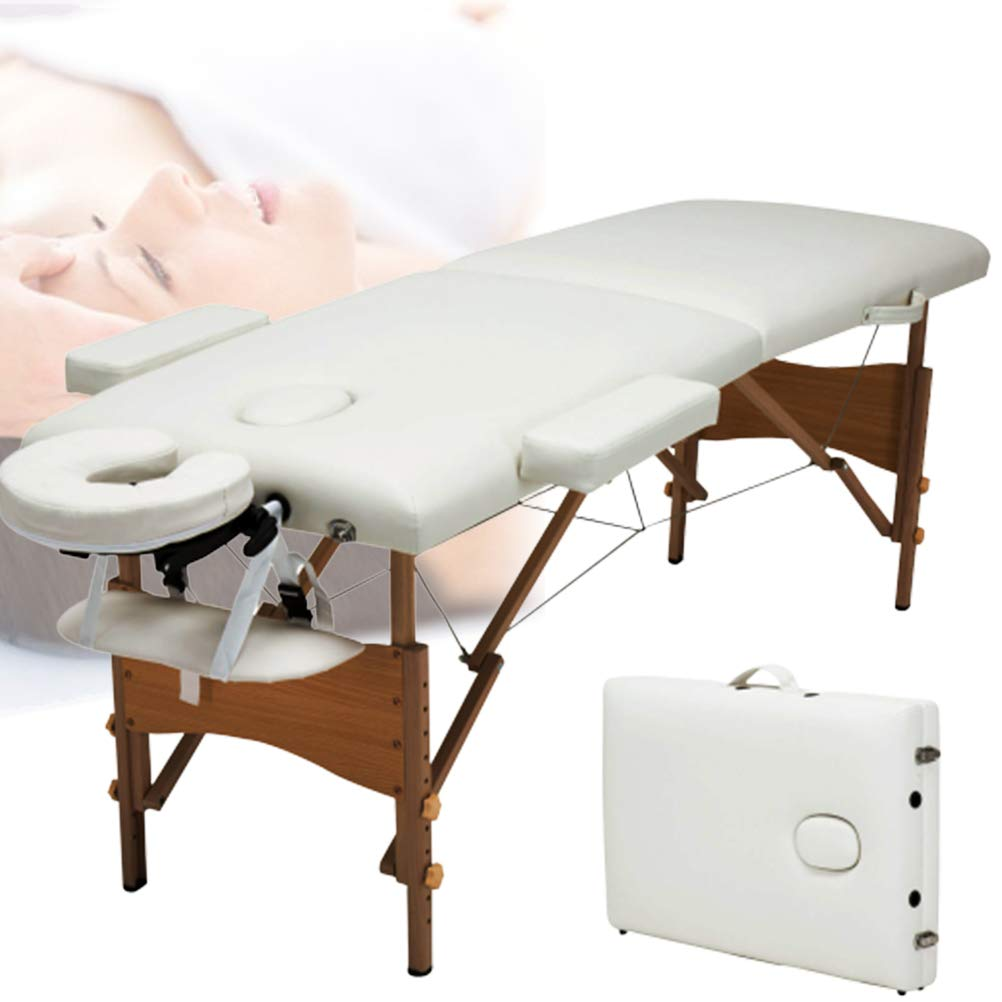 Massage Table Folding Massage Bed Professional Portable 2 Fold Hight Adjustable Wood Frame for SPA Salon by Massage Table