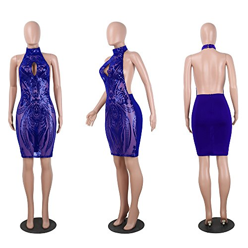 Bodycon Women's Floral Halter Sexy Backless Acelyn Royal See Dress Mini Blue Sequins Club Through qwzxpd