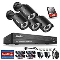 SANNCE 4CH 1080P HD Security Camera System 1080P DVR Reorder with 1 TB Surveillance Hard Drive and (4) HD 1920TVL Outdoor CCTV Cameras with IP66 Weatherproof and Motion Detection