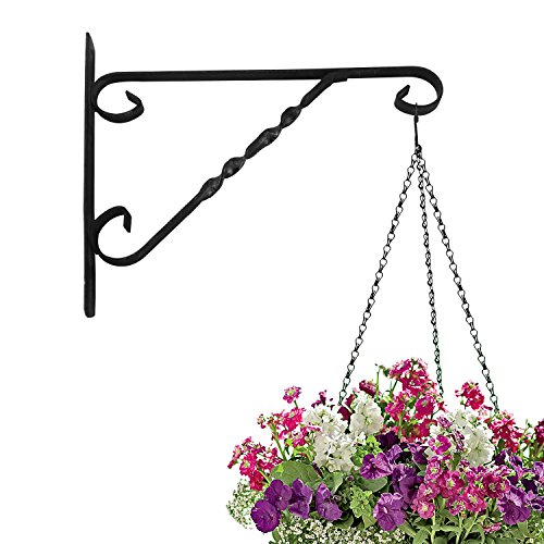Amagabeli Hanging Plants Bracket 12'' Wall Planter Hook Flower Pot Bird Feeder Wind Chime Lanterns Hanger Outdoor Indoor Patio Lawn Garden for Shelf Shelves Fence Screw Mount against Door Arm Hardware (Flower Brackets Pot)