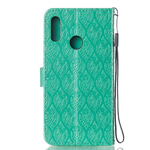 For Huawei Honor 10 Lite Wallet Case [Free Screen Protector],Magnetic Flip with Cards Slot Cash Pockets Embossed Rattan Flowers Pattern Soft Silicone Cover for Huawei Honor P Smart 2019,Green by Funyye (Image #4)
