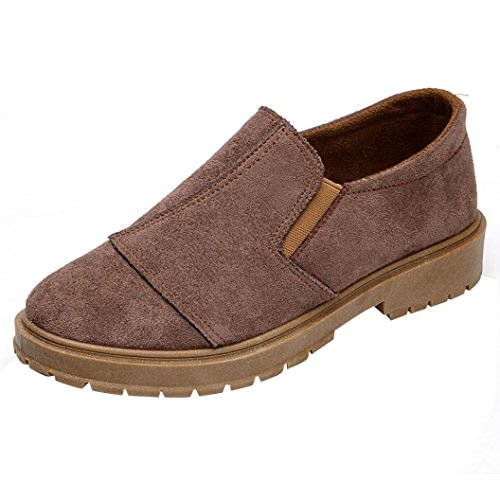 Trim Pump Platform (Tootu Women Low Ankle Trim Round Toe Leather Boots Casual Slip-on Martin Shoes)