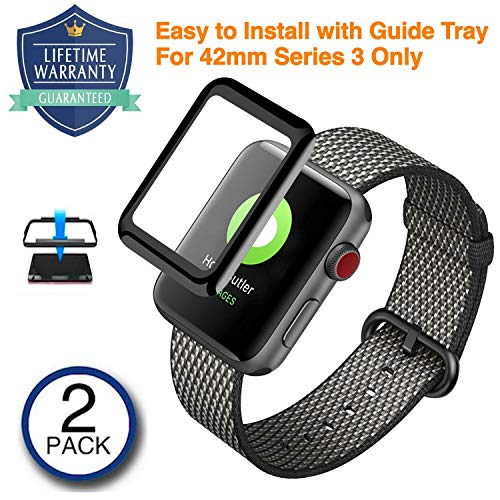 Vanford - [2 Pack] Apple Watch Screen Protector (42mm Series 3) [Edge to Edge Full Screen Coverage] 3D Curved Edge Tempered Glass with [Easy Guide Tray] Ultra Clear Bubble Free for Apple Watch