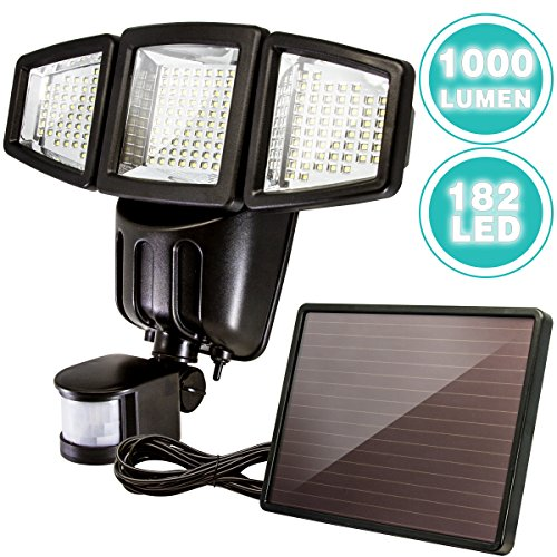 Solar Powered Motion Sensor Light, ANKO 1000Lumen 182LEDs Adjustable Head  IP44 Waterproof Outdoor Security Light With Three Control Dials.