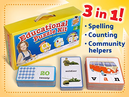 3 Piece Sound Puzzle - 3-in-1 Educational Puzzles for Kids Toys Gift Set. 50 Pieces Puzzle for Boys/Girls Preschool Children, Toddler Ages, 3, 4, 5 Up-2 8-year-old. Learning, Counting, Spelling, Numbers, Community Helpers