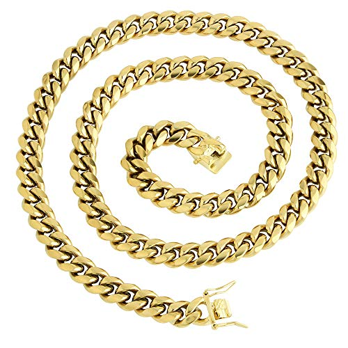 PY Bling Mens Miami Cuban Link Chain Choker 14k Solid Gold Plated Hip Hop Stainless Steel 10mm-14mm Thick Necklace/Bracelet (10mm,30)