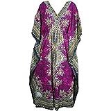 Mogul Womens Maxi Kaftan Dashiki Print Kimono Caftan Evening Beach Cover Up