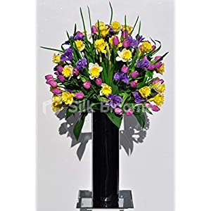 Silk Blooms Ltd Artificial Yellow Daffodil, Tulip and Iris Floral Arrangement w/Green Leaves and Tall Black Vase 64