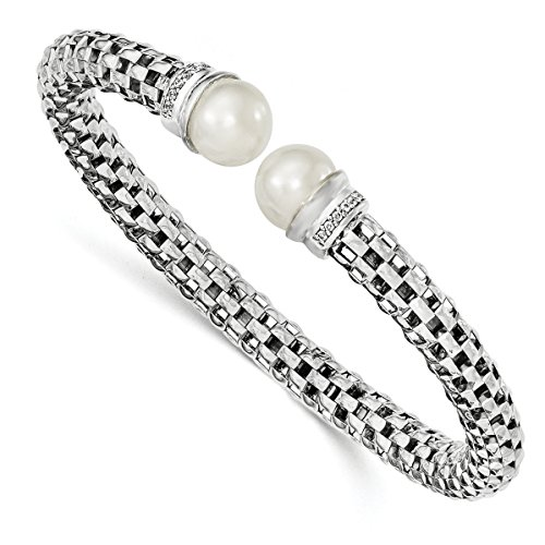 ICE CARATS 925 Sterling Silver Rhod Plated Freshwater Cultured Pearl Cubic Zirconia Cz Cuff Bangle Bracelet Expandable Stackable For Women by ICE CARATS