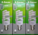 Pack of 3, E-Saver CFL Full Spiral, 12w = 60 watt, Warm White 2700k, Compact Fluorescent Lamp, Bayonet Cap (BC, B22, B22d) 600 Lumen, T2, 80%-85% Energy Saving Light Bulb, Flicker Free, 10,000 Hours Life Time