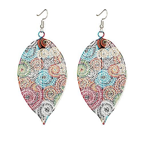 - MIXIA Bohemia Vintage Colorful Natural Leaf Dangle Earrings Print Flower Drop Earrings for Women