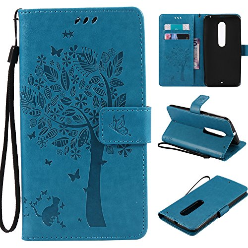 MOTO Droid Maxx 2 Case ,Best Share Embossing Fashion Floral Countryside Pattern PU Leather Flip Stand Wallet Case With Hand Strap Card Slot Kickstand Cover For Motorola Maxx 2 / X Play XT1563 ,Blue