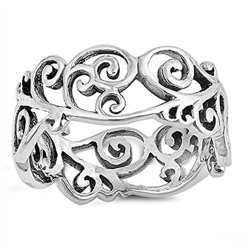 Victorian Style Filigree - Antiqued Victorian Style Filigree Heart Floral Sterling Silver Ring Size 6