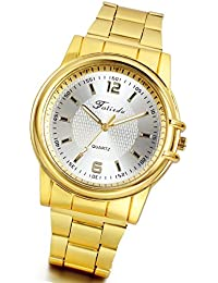 Lancardo Men's Golden Tone Casual Wrist Watches with Gift...