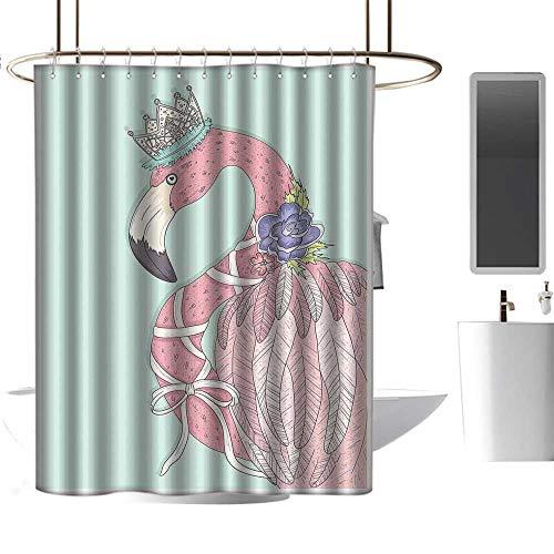 - TimBeve Vintage Shower Curtain Flamingo,Cute Flamingo Flower Crown Ribbon Fairytale Children Kids Artwork,Baby Blue Pale Pink White,Rustproof Metal Grommets Bathroom Shower Curtain 47