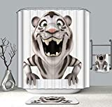 KANATSIU A Tiger a Big Mouth Shower Curtain 12 Plactic Hooks,100% Made Polyester,Mildew Resistant & Machine Washable,Width x Height is 72X72