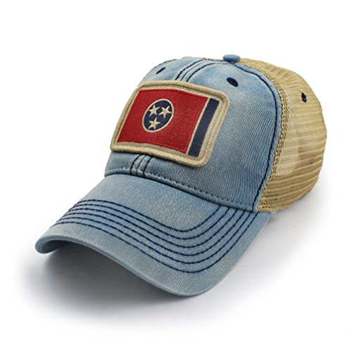 State Legacy Revival Tennessee Flag Patch Trucker Hat, Americana Blue