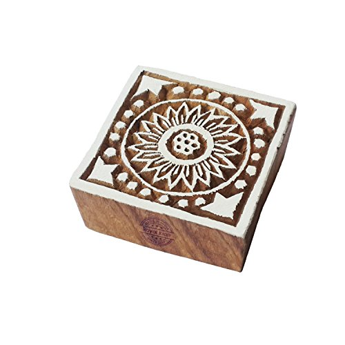 Indian Square Flower Motif Wood Block for Printing - DIY Henna Fabric Textile Paper Clay Pottery Block Printing Stamp