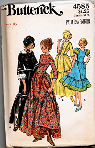 Butterick 4585 Colonial Frontier Costumes Sewing Pattern Misses Size 14 Bust 36 -