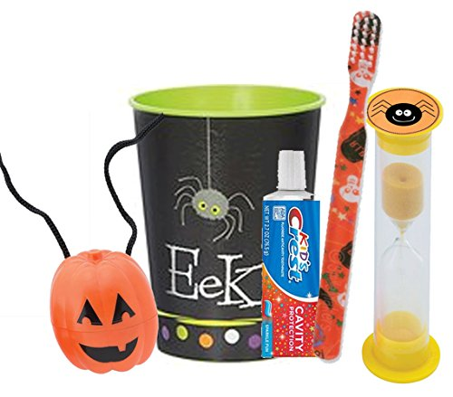 Happy Halloween Inspired Trick Or Treat 5pc Bright Smile Oral Hygiene Set! Soft Manual Toothbrush, Toothpaste, Brushing Timer & Mouthwash Rinse Cup! Plus Bonus Jack O' Lantern Tooth Holder -