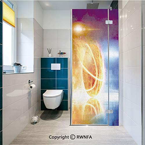 RWNFA Window Films Privacy Glass Sticker Abstract Sports Background Burning Basketball with Digital Reflection Art Print Static Decorative Heat Control Anti UV 23.6In by 47.2In,Blue Yellow