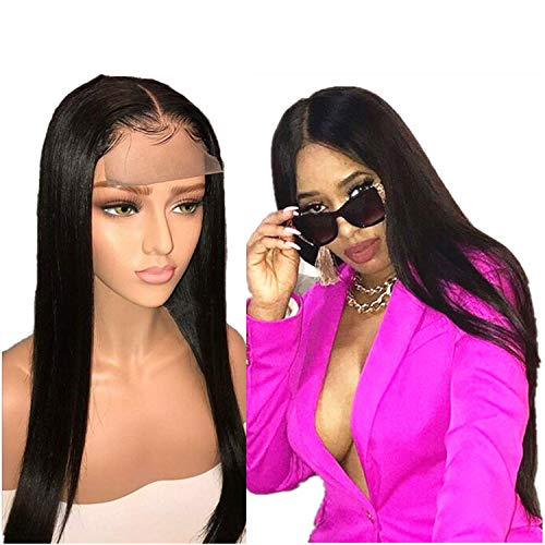 Brazilian Lace Front Human Hair Wigs Hair Full End 4X4 Straight Lace Front Wigs For Women,#1B,20inches,150Density 4x4 Lace]()