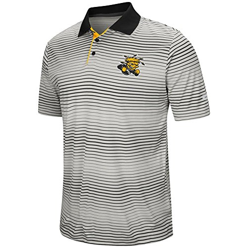 Colosseum Wichita State Shockers Men's Polo Striped Performance T-Shirt (X-Large)