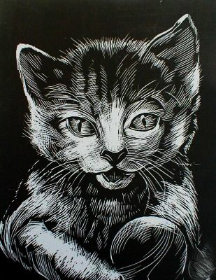 WASO-Hobby - 4er Scrapy Kratzbilder Set - Katzenmotive / Silber *Groß*