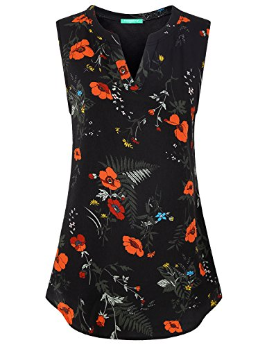 Kimmery Floral Tank Tops for Women, Ladies Tunic Shirts Sleeveless Mandarin Collar Tunic Jeggings Matching Breathable Airy Ventilated Casual Leisure Cool Versatile Paisley Trapeze Clothes Black Large
