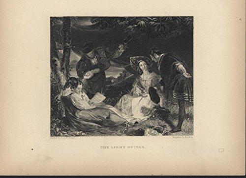 (The Light Guitar singing c.1860 antique steel engraved print )
