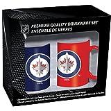 Hunter Manufacturing NHL Winnipeg Jets Ceramic Mug Set (2-Piece), 11-Ounce, Clear