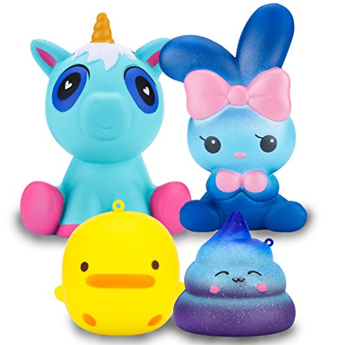 R.HORSE Cute Blue Unicorn, Galaxy Rabbit, Galaxy Poop, Yellow Duck Set Kawaii Cream Scented Squishies Slow Rising Decompression Squeeze Toys for Kids or Stress Relief Toy Large (4 Pack)