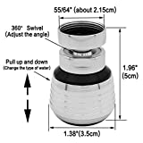 "Kabter 360-Degree Swivel Dual-Spray function 2-Flow Kitchen Sink faucet Aerator with 55/64"" Female Thread"