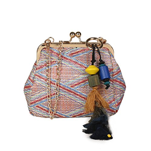 Beach Bolsas Feminias Casual Woven Straw Coffee Handbag Tassel Big Totes Women Donalworld Knitted IzUfwAqx
