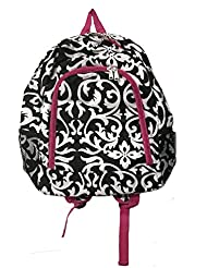 16-Inch Multipurpose Backpack | Children School Backpack Bag (Damask Print-Pink Trim)