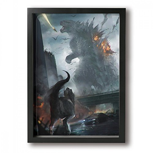 Little Monster Godzilla Attack Tyrannosaurus Rex Framed and Stretched Painting On Canvas Home Decor Comics Art for Childrens Bedroom Living Room Black -