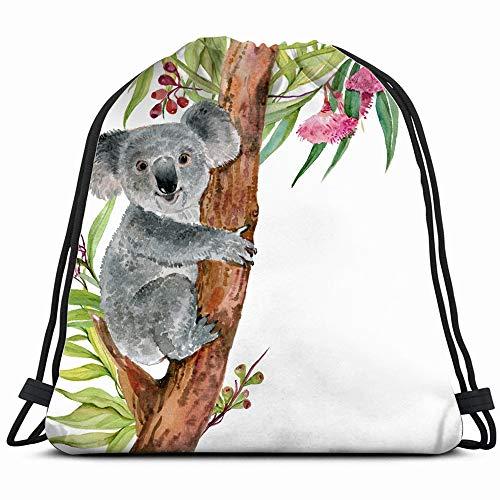 Cute Koala Bear On Eucalyptus Treewatercolor Animals Wildlife Drawstring Bag Backpack Gym Dance Bag Reversible Flip Sequin Bling Backpack For Hiking Beach Travel Bags