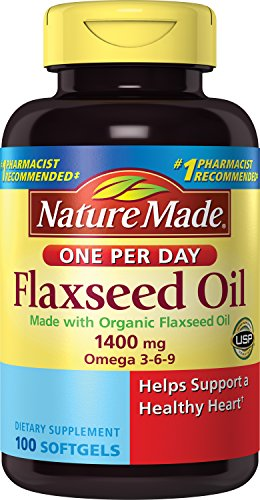 Nature Made Organic Flaxseed Oil 1400 mg 700mg Omega 3 100 Liquid Softgels Flax Oil 100 Softgels