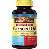 Nature Made Organic Flaxseed Oil 1400 mg Omega 3-6-9 Softgels 100 Ct, One Per Day